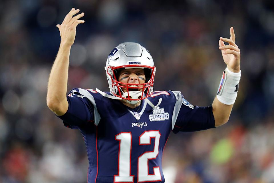 Tom Brady #12 of the New England Patriots reacts as he runs onto the field before the game against the Pittsburgh Steelers at Gillette Stadium on September 08, 2019 in Foxborough, Massachusetts. (Photo by Maddie Meyer/Getty Images)