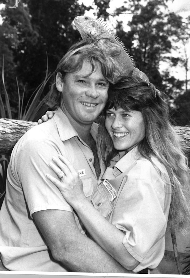 <p>This cute black and white shot was taken in 1993 at Green Iguana at Australia Zoo in Queensland. Source: Getty </p>