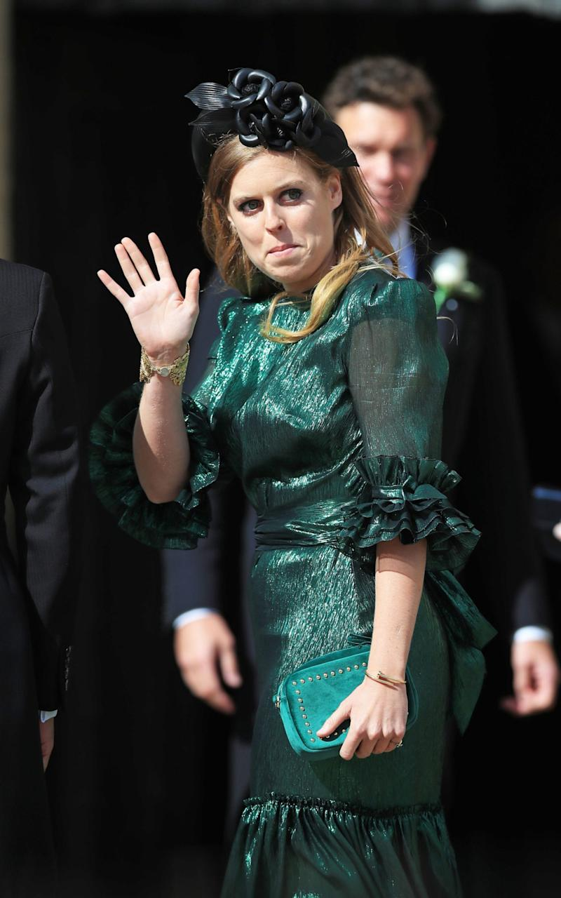 Princess Beatrice wearing The Vampire's Wife at Ellie Goulding's wedding in August 2019 - PA