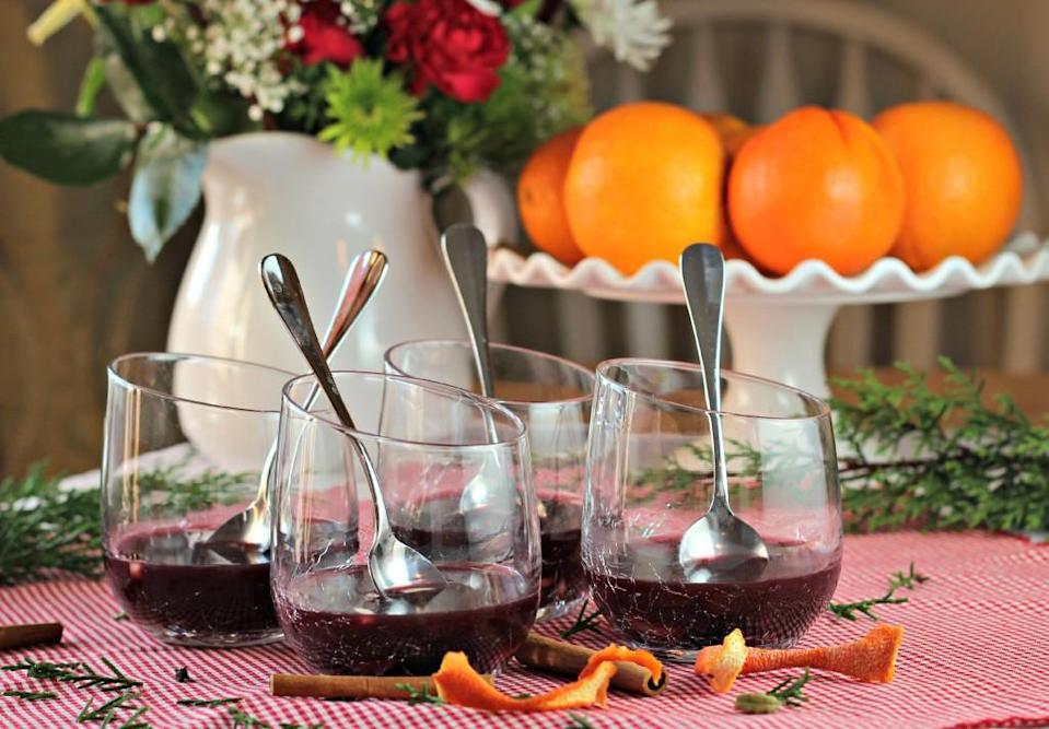 "<div class=""caption-credit""> Photo by: Caffay Way</div><div class=""caption-title"">Traditional Swedish Glögg (Mulled Wine)</div>This traditional Swedish drink is made with red wine and fragrant cinnamon and cardamom; it will warm you up from the inside (and it's as good with ""cheap ol' Carlo Rossi Burgundy"" as any more expensive bottle, writes Camilla). <br> <br> <b>Recipe: <a href=""http://www.caffayway.com/2012/12/09/mulled-wine-glogg/"" rel=""nofollow noopener"" target=""_blank"" data-ylk=""slk:Traditional Swedish Glögg (Mulled Wine)"" class=""link rapid-noclick-resp"">Traditional Swedish Glögg (Mulled Wine)</a></b>"