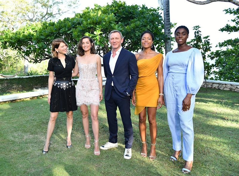 "MONTEGO BAY, JAMAICA - APRIL 25: (L-R) Cast member Lea Seydoux, Ana de Armas, Daniel Craig, Naomie Harris and Lashana Lynch attend the ""Bond 25"" film launch at Ian Fleming's Home 'GoldenEye' on April 25, 2019 in Montego Bay, Jamaica. (Photo by Slaven Vlasic/Getty Images for Metro Goldwyn Mayer Pictures)"