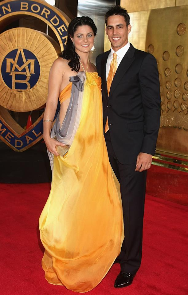 MELBOURNE, AUSTRALIA - FEBRUARY 03: Mitchell Johnson and partner Jess Braticht arrive at the 2009 Allan Border Medal at the Crown Casino February 3, 2009 in Melbourne, Australia.  (Photo by Lucas Dawson/Getty Images)