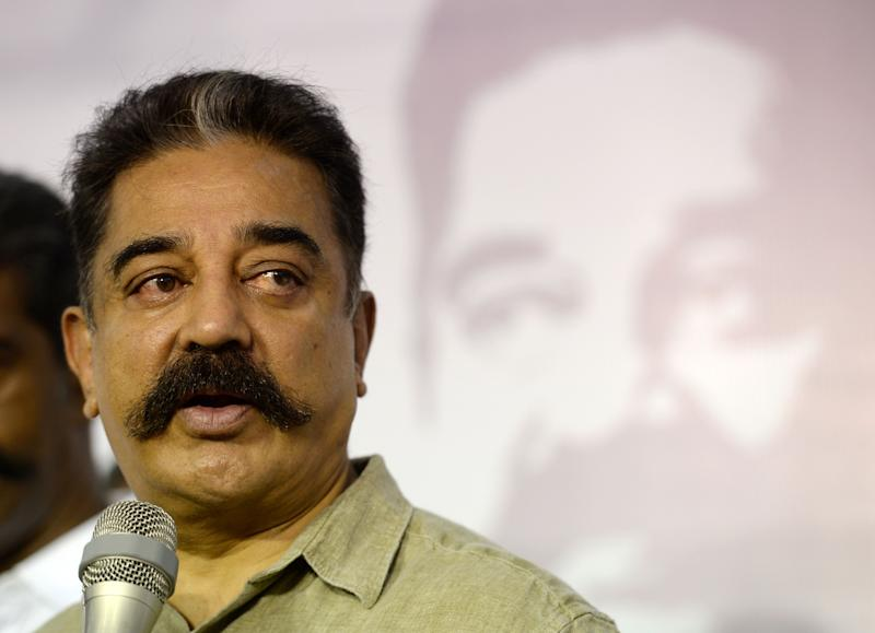 "Indian cinema actor Kamal Hassan looks on as he speaks at his ""Makkal Needhi Mayyam' political party office in Chennai on May 24, 2019. (Photo by ARUN SANKAR / AFP) (Photo credit should read ARUN SANKAR/AFP/Getty Images)"