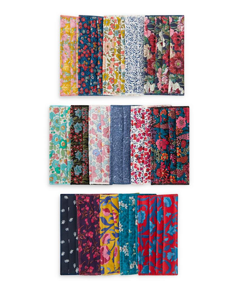 Assorted Upcycled Tana Lawn Cotton Face Coverings Set of Five. Image via Liberty London.