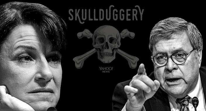 Sen. Amy Klobuchar; D-Minn., and attorney general nominee William Barr. (Yahoo News photo Illustration; photos: AP)
