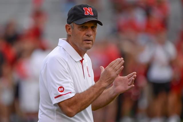 Head coach Mike Riley watches pregame action before Nebraska lost to Northern Illinois. (Getty)