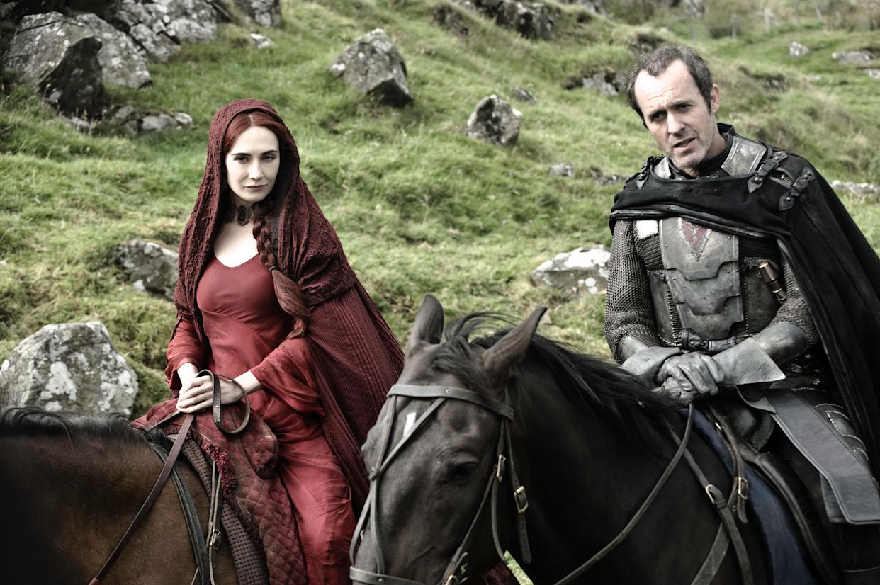 Stannis' sigil can be seen on his chest.  (Photo: Helen Sloan/HBO)