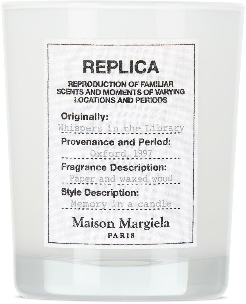 """<p><strong>Maison Margiela</strong></p><p>ssense.com</p><p><strong>$65.00</strong></p><p><a href=""""https://go.redirectingat.com?id=74968X1596630&url=https%3A%2F%2Fwww.ssense.com%2Fen-us%2Feverything-else%2Fproduct%2Fmaison-margiela%2Freplica-whispers-in-the-library-candle-5.82-oz%2F7057471&sref=https%3A%2F%2Fwww.harpersbazaar.com%2Ffashion%2Ftrends%2Fg36053973%2Fgift-ideas-for-grandma%2F"""" rel=""""nofollow noopener"""" target=""""_blank"""" data-ylk=""""slk:Shop Now"""" class=""""link rapid-noclick-resp"""">Shop Now</a></p><p>From Maison Margiela's newest collection, this candle boasts top notes of pepper, vanilla, and cedar wood. </p>"""
