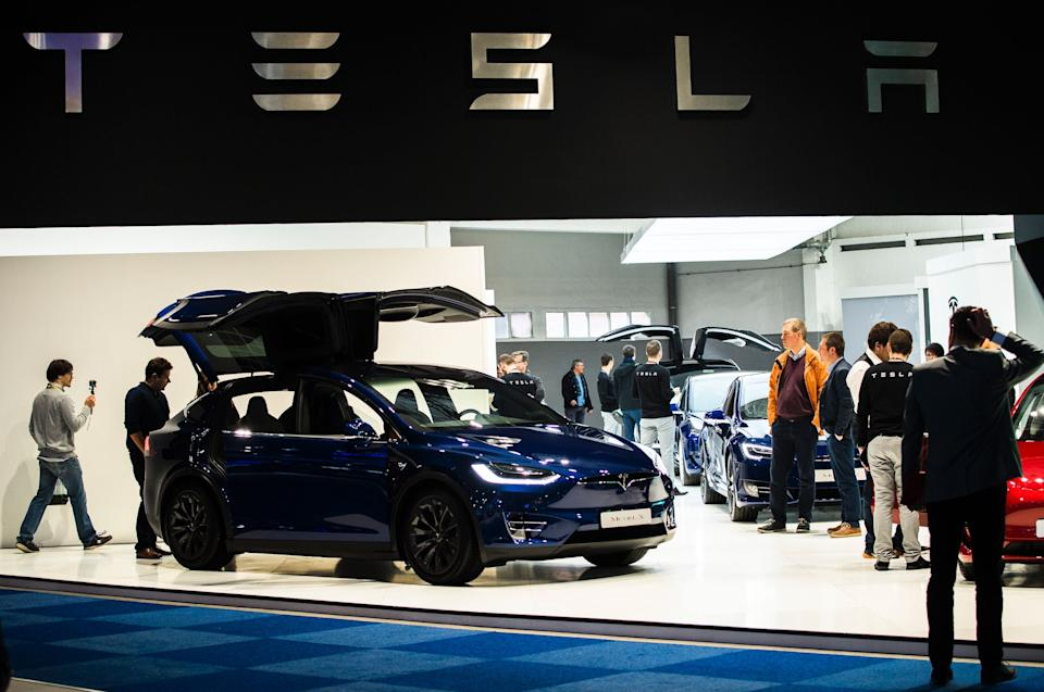 Illustration shows the logo of Tesla at the #WeAreMobility fair at the 97th edition of the Brussels Motor Show, at Brussels Expo, on Friday 18 January 2019, in Brussels. (Photo: DIRK WAEM/AFP/Getty Images)