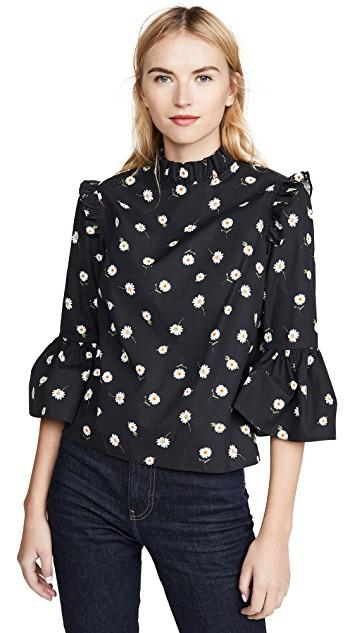 alice + olivia Henrietta Ruffled Boxy Blouse in tossed daisy black