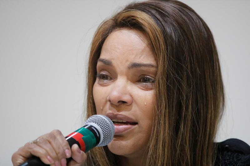 Brazilian Congresswoman Flordelis de Souza reacts as she talks about her husband, pastor Anderson do Carmo, who was shot more than 30 times at their home, at the Brazilian congress in Brasilia, Brazil, June 25, 2019. Picture taken June 25, 2019. Fernando Brazao/Agencia Brasil/Handout via REUTERS ATTENTION EDITORS - THIS IMAGE HAS BEEN SUPPLIED BY A THIRD PARTY.