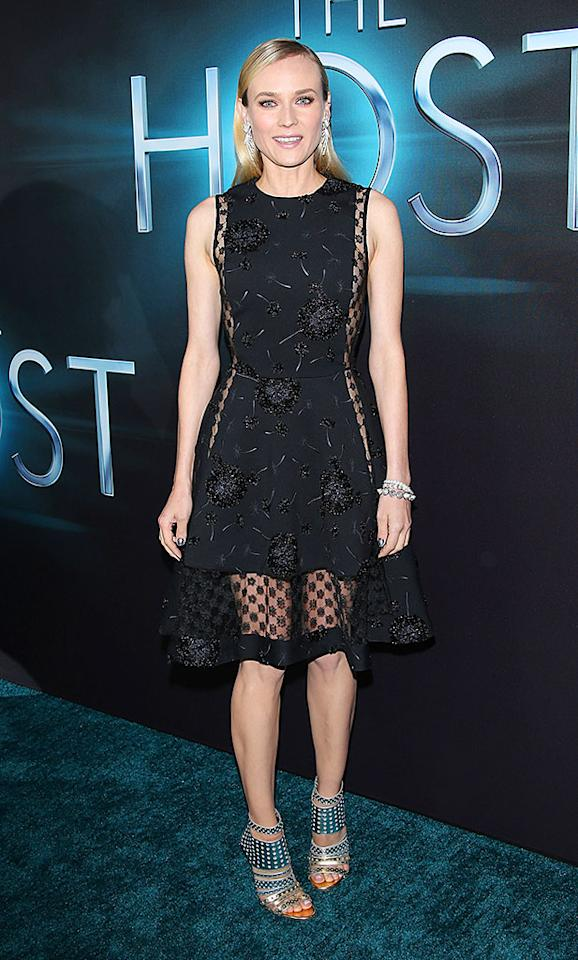 "If you can get past her awkward pose, check out the awesomeness of the Thakoon dress actress Diane Kruger sported at the Tuesday night premiere of Stephenie Meyer's new sci-fi extravaganza, ""The Host."" Giving her getup a futuristic boost were a metallic manicure and studded Jimmy Choo booties. (3/19/2013)"