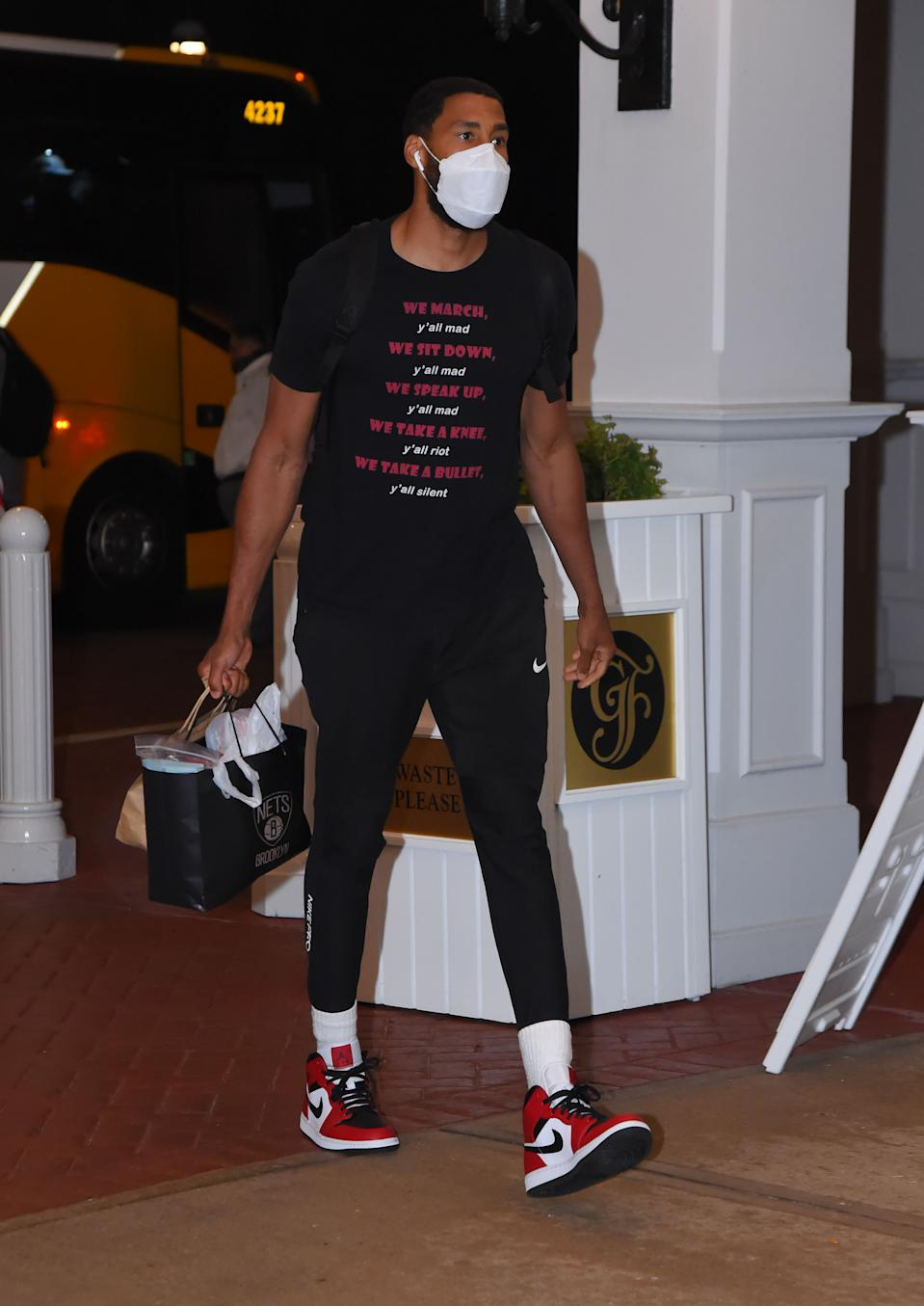 Garrett Temple #17 of the Brooklyn Nets arrives at the hotel as part of the NBA Restart 2020 on July 7, 2020 in Orlando, Florida. (Photo by Bill Baptist/NBAE via Getty Images)