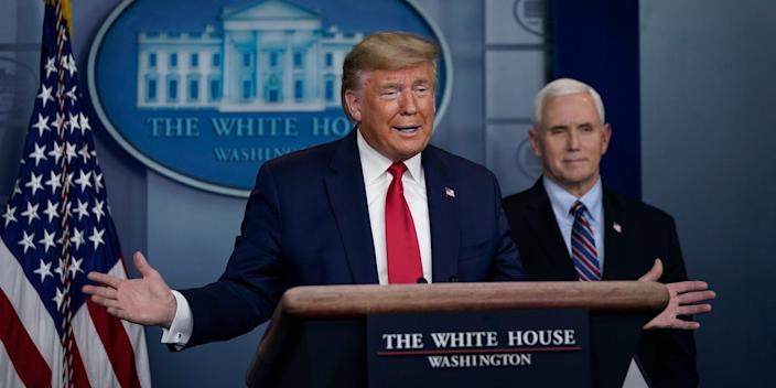 President Donald Trump and Vice President Mike Pence at a White House coronavirus briefing on March 26, 2020.