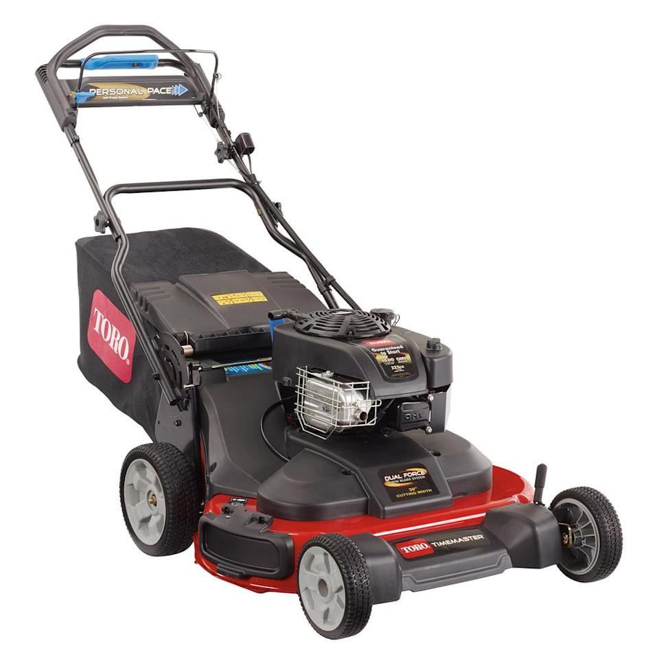 """<p><strong>Toro</strong></p><p>homedepot.com</p><p><strong>$1099.00</strong></p><p><a href=""""https://www.homedepot.com/p/Toro-TimeMaster-30-in-Briggs-and-Stratton-Personal-Pace-Self-Propelled-Walk-Behind-Gas-Lawn-Mower-with-Spin-Stop-21199/300234121"""" target=""""_blank"""">Buy Now</a></p><p>The machine that pioneered the category at the residential level is the Toro TimeMaster, a 30-inch mower powered by a 223-cc OHV engine. It debuted several years ago and created a minor revolution in residential lawn care by filling a gap for homeowners who have a bit too much lawn for a standard 22-inch walk mower, but not enough lawn (or storage) to justify riding equipment.</p><p>This Toro is equipped with a blade-brake function (normally called blade brake clutch) that allows the user to stop the blades and drive system and step away from the mower with the engine running. This allows you to remove hazards from the lawn or relocate lawn furniture.</p>"""