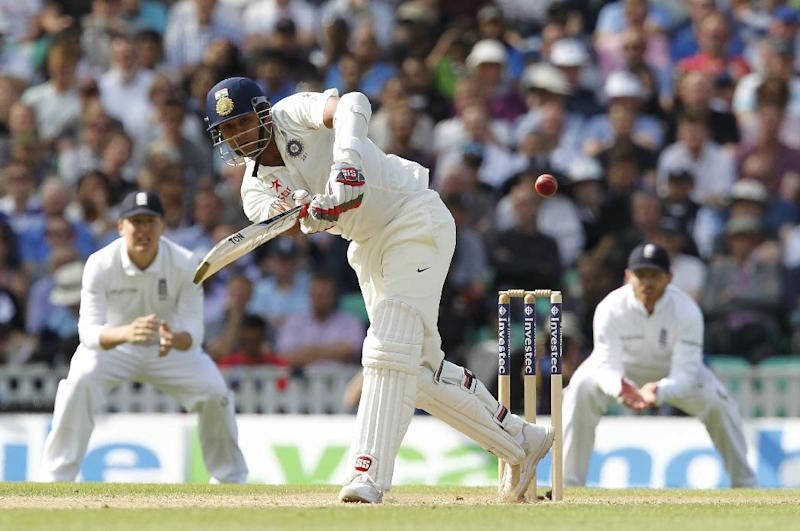 India's Stuart Binny plays a shot during play on the third day of the fifth cricket Test match between England and India at The Oval in London on August 17, 2014