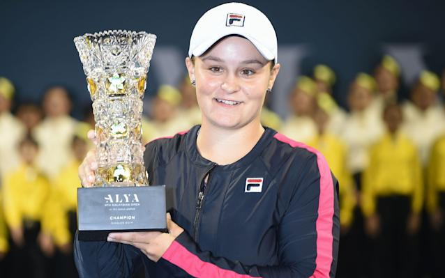 <span>Barty with the Malaysian Open trophy earlier this month</span>