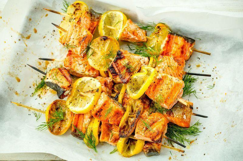 "<p>Lemony salmon kebabs are about to be your go-to for grilling season.</p><p>Get the <a href=""https://www.delish.com/uk/cooking/recipes/a34615491/mediterranean-salmon-skewers-recipe/"" rel=""nofollow noopener"" target=""_blank"" data-ylk=""slk:Mediterranean Salmon Skewers"" class=""link rapid-noclick-resp"">Mediterranean Salmon Skewers</a> recipe.</p>"