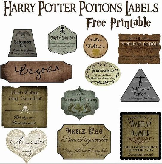 """<p>Use these printable <a href=""""http://www.overthebigmoon.com/halloween-decor-harry-potter-potion-bottles-free-printable/"""" target=""""_blank"""" class=""""ga-track"""" data-ga-category=""""Related"""" data-ga-label=""""http://www.overthebigmoon.com/halloween-decor-harry-potter-potion-bottles-free-printable/"""" data-ga-action=""""In-Line Links"""">Harry Potter potions labels from blog Over the Big Moon</a> and affix to bottles from a local thrift store to stock the party with ready-made wizard elixirs.</p>"""
