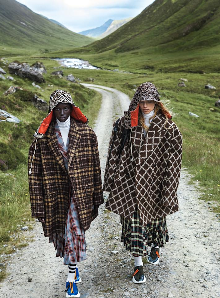 Coordinated mad-for-plaid looks make for the best check mates. On Yai: Calvin Klein 205W39NYC oversize blazer, coat ($1,900), skirt ($1,600), and hood. On Leigh: Calvin Klein  205W39NYC jacket ($3,500), skirt ($1,600), and hood. All at Calvin Klein, NYC.