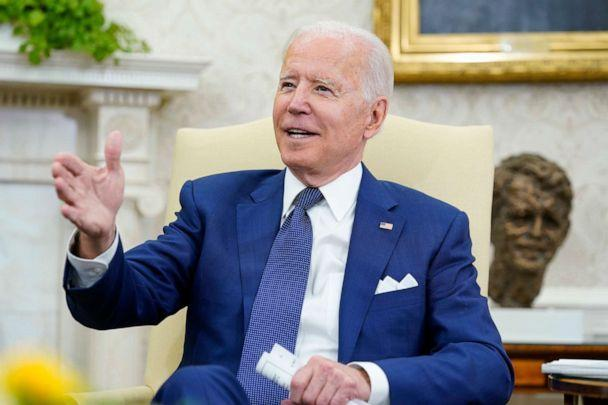 PHOTO: U.S. President Joe Biden speaks during his meeting with Iraqi Prime Minister Mustafa al-Kadhimi in the Oval Office of the White House in Washington, D.C., on July 26, 2021. (Susan Walsh/AP)