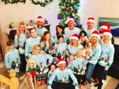 """<p>Derek Hough shared a pic of his entire family (including sister Julianne) decked out in Santa caps and matching ugly Christmas sweaters courtesy of Ellen DeGeneres. """"Merry Christmas everyone!"""" exclaimed the pro dancer. """"And yes we are all wearing the @theellenshow ugly sweaters she gave us."""" (Photo: <a rel=""""nofollow noopener"""" href=""""https://www.instagram.com/p/BOctYIRhZ1U/"""" target=""""_blank"""" data-ylk=""""slk:Instagram"""" class=""""link rapid-noclick-resp"""">Instagram</a>) </p>"""