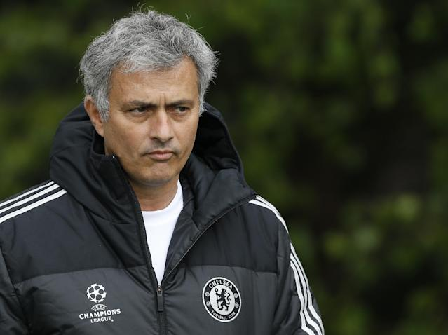 Chelsea manager Jose Mourinho arrives for a training session at Cobham in England, Tuesday, April 29, 2014. Chelsea will play a Champions League semifinal second leg soccer match against Atletico Madrid on Wednesday. (AP Photo/Kirsty Wigglesworth)