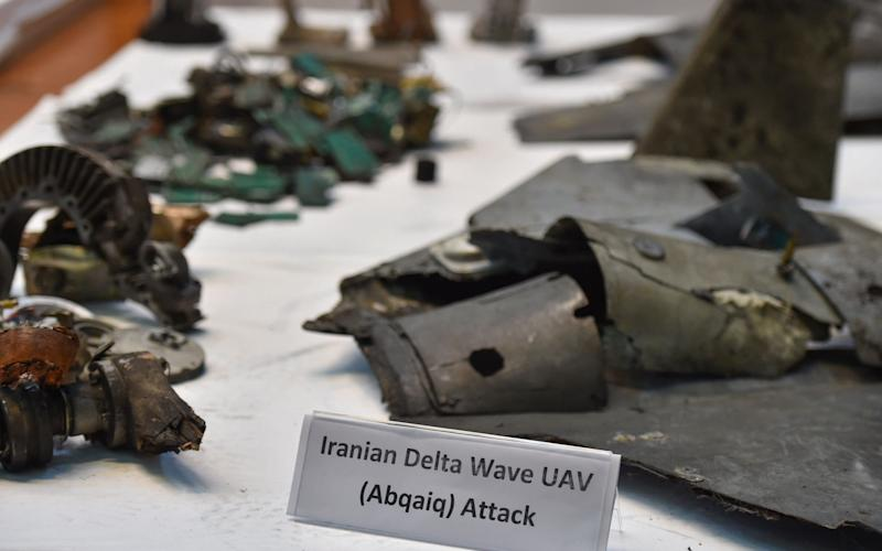 A picture taken on September 18, 2019 shows displayed fragments of what the Saudi defence ministry spokesman said were Iranian cruise missiles and drones - AFP
