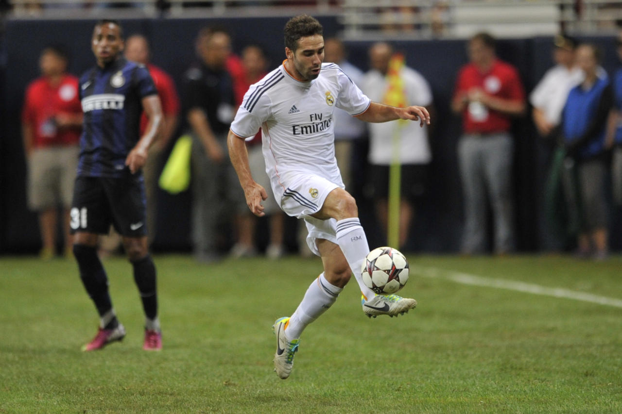 Real Madrid's Daniel Carvajal (15) as Real Madrid played Inter Milan in St. Louis, Saturday, Aug. 10, 2013. (G. Newman Lowrance / AP Images for Relevant Sports)