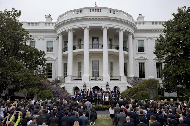 <p>President Donald Trump speaks on the South Lawn of the White House in Washington, Wednesday, April 19, 2017, during a ceremony where he honored the Super Bowl Champion New England Patriots for their Super Bowl LI victory. (AP Photo/Andrew Harnik) </p>