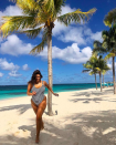<p>The model opted for a chic striped swimsuit while holidaying in Anguilla earlier this year. <em>[Photo: Instagram]</em> </p>