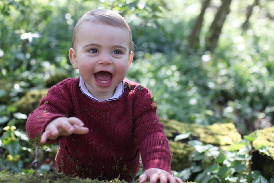 Prince Louis' peter pan collar is similar – if not the same – to the one Prince George has worn previously. [Photo: PA]