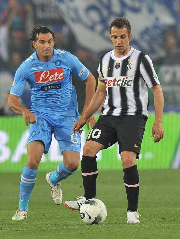 Juventus' forward Alessandro Del Piero controls the ball in front of Napoli's defender Salvatore Aronica during the final of the Cup of Italy Juventus vs Napoli at the Olympic Stadium in Rome on May 20, 2012. AFP PHOTO / GABRIEL BOUYSGABRIEL BOUYS/AFP/GettyImages