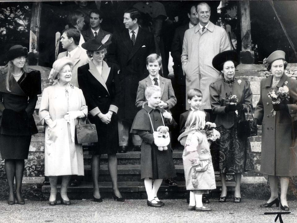 <p>The royals at Christmas mass, with Princess Diana and the Queen Mother</p>Rex Features