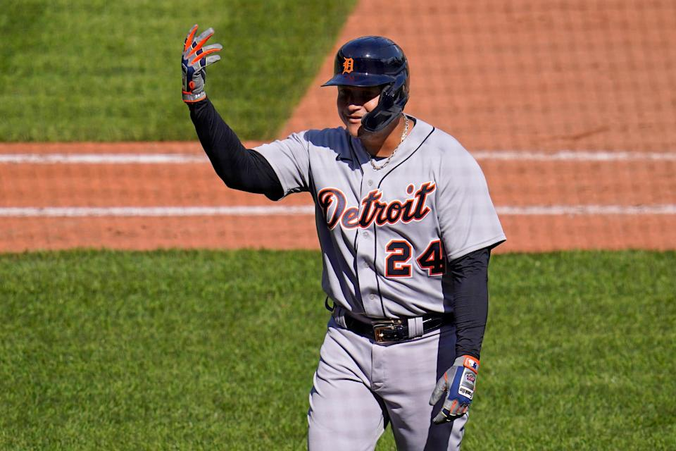 Detroit Tigers' Miguel Cabrera gestures as he walks to the dugout after hitting a sacrifice fly off Pittsburgh Pirates starting pitcher Bryse Wilson, driving in a run, during the sixth inning of a baseball game in Pittsburgh, Monday, Sept. 6, 2021.