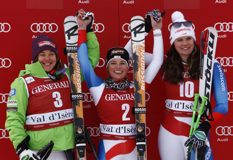 Switzerland's Lara Gut, winner of a women's Alpine Ski World Cup downhill race, center, celebrates on the podium with second-placed Leanne Smith, of the United States, left, and third-placed compatriot Nadja Kamer, in Val d'Isere, France, Friday, Dec.14, 2012. (AP Photo/Pier Marco Tacca)
