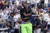 Gael Monfils, of France, reacts after defeating Steve Johnson, of the United States, during the second round of the US Open tennis championships, Thursday, Sept. 2, 2021, in New York. (AP Photo/John Minchillo)