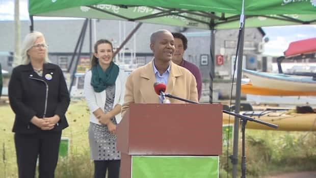 Federal Green Party Leader Annamie Paul speaks in front of candidates running for the party on P.E.I. (CBC - image credit)