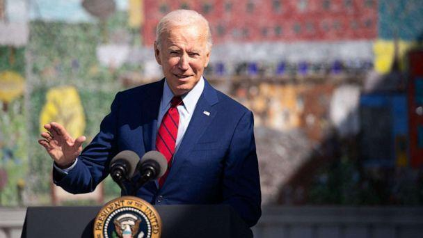 PHOTO: President Joe Biden speaks about coronavirus protections in schools during a visit to Brookland Middle School in Washington, D.C., Sept. 10, 2021. (Saul Loeb/AFP via Getty Images)