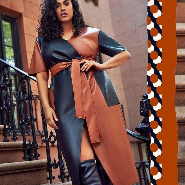 """<p>This <product href=""""https://www.eloquii.com/colorblocked-faux-leather-wrap-dress/1237358.html?dwvar_1237358_colorCode=42"""" target=""""_blank"""" class=""""ga-track"""" data-ga-category=""""Related"""" data-ga-label=""""https://www.eloquii.com/colorblocked-faux-leather-wrap-dress/1237358.html?dwvar_1237358_colorCode=42"""" data-ga-action=""""In-Line Links"""">Eloquii Colorblocked Faux Leather Wrap Dress </product> ($150) is incredibly flattering.</p>"""