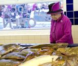 <p>The British monarch stares down some of her more slimy subjects in East Sussex.</p>