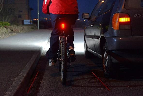 Laser gadget create virtual bike lane