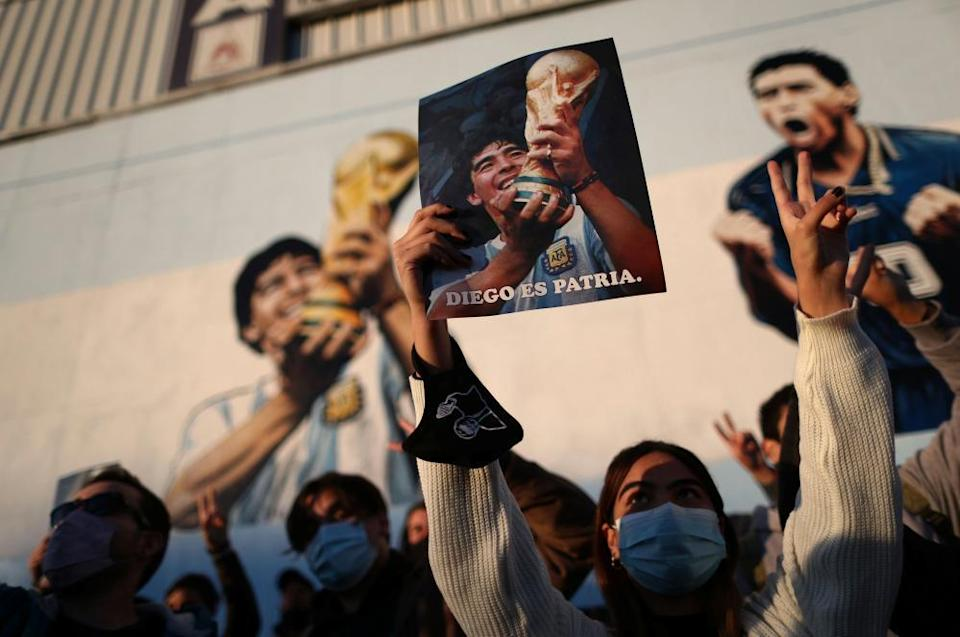Fans remember Maradona idol with a colourful memorial in Buenos Aires.