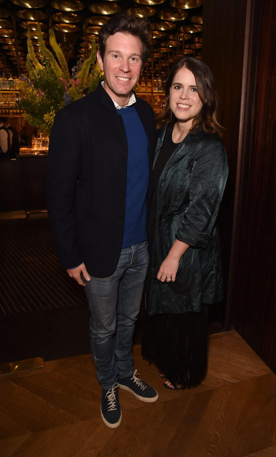 <p>Jack Brooksbank and Princess Eugenie arrive at an exclusive dinner hosted by Poppy Jamie to celebrate the launch of her first book <em>Happy Not Perfect</em> at Isabel on June 22 in London.</p>