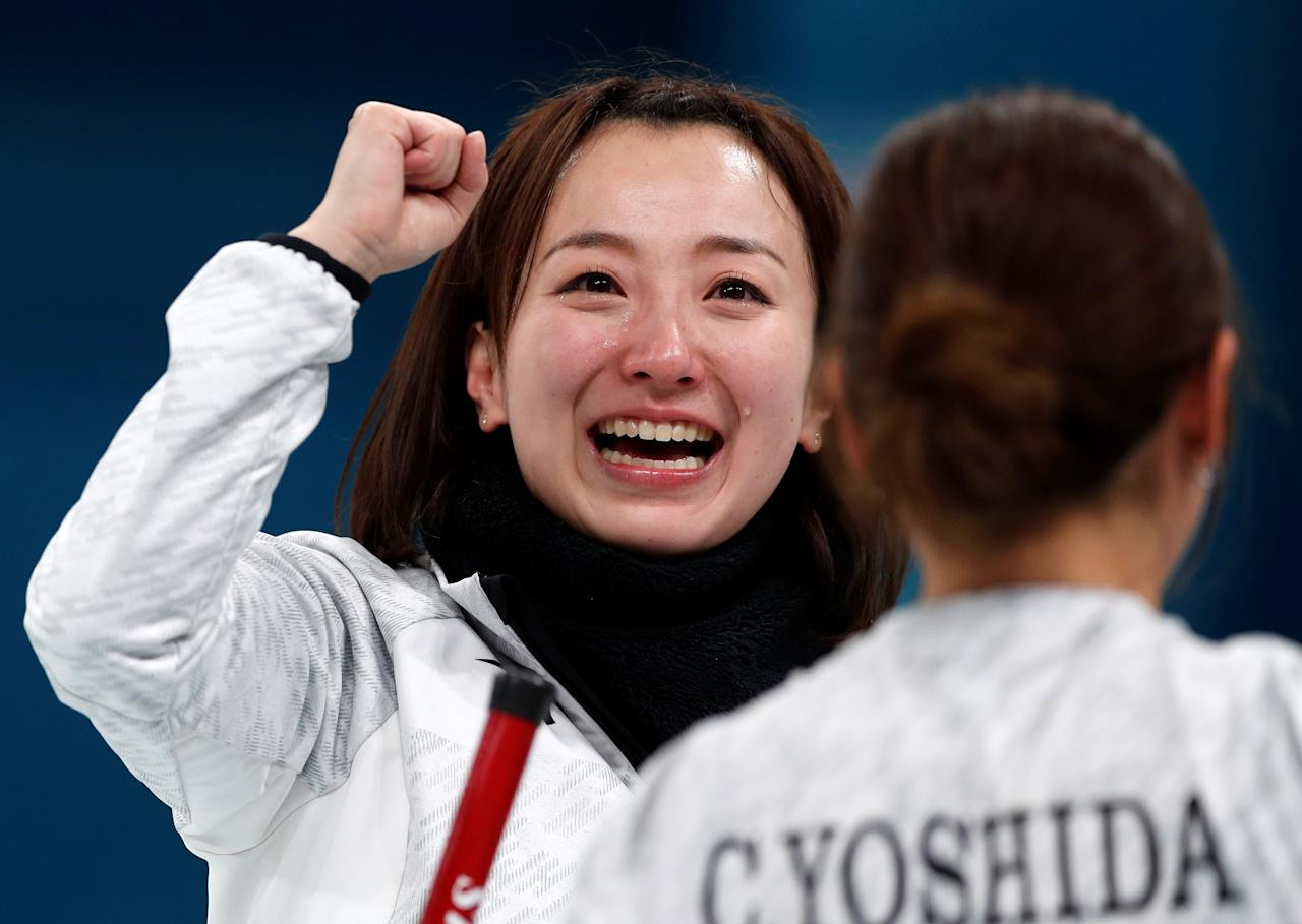 Curling - Pyeongchang 2018 Winter Olympics - Women's Bronze Medal Match - Britain v Japan - Gangneung Curling Center - Gangneung, South Korea - February 24, 2018 - Skip Satsuki Fujisawa of Japan reacts after winning. REUTERS/John Sibley     TPX IMAGES OF THE DAY