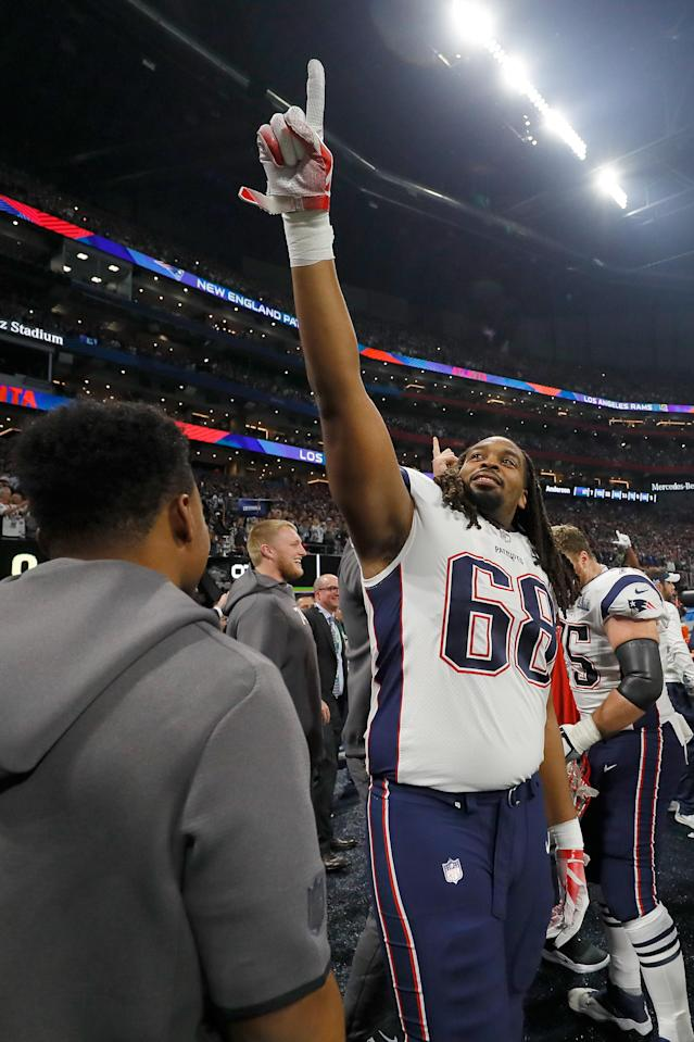 <p>LaAdrian Waddle #68 of the New England Patriots reacts after the Patriots defeat the Los Angeles Rams 13-3 during Super Bowl LIII at Mercedes-Benz Stadium on February 3, 2019 in Atlanta, Georgia. (Photo by Kevin C. Cox/Getty Images) </p>