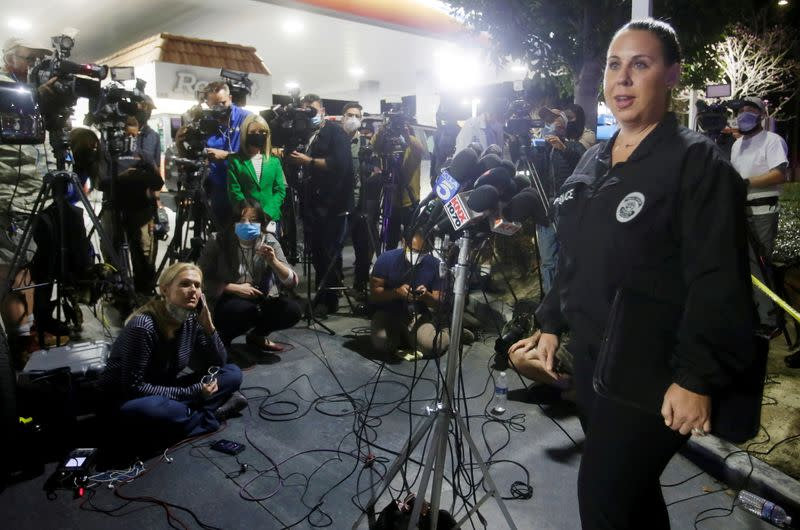 City of Orange Police Department's Lt. Jennifer Amat speaks at a news conference about a shooting at an office building in Orange