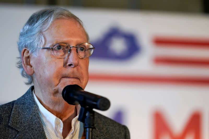 FILE PHOTO: Senate Majority Leader Mitch McConnell speaks at the final campaign event of his 2020 campaign for U.S. Senate in Versailles