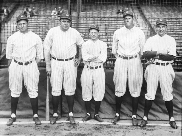 Members of the famous 1927 Yankees: (L-R) Waite Hoyt, Babe Ruth, Miller Huggins, Bob Meusel, and Bob Shawkey. (Photo Reproduction by Transcendental Graphics/Getty Images)