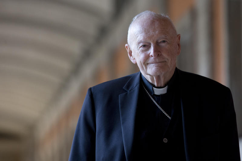 FILE - In this Feb. 13, 2013 file photo, Cardinal Theodore Edgar McCarrick poses during an interview with the Associated Press, in Rome. Email correspondence shows disgraced ex-Cardinal Theodore McCarrick was placed under Vatican travel restrictions in 2008 for sleeping with seminarians, but regularly flouted those rules with the apparent knowledge of Vatican officials under Pope Benedict XVI and Pope Francis. Francis defrocked McCarrick in February after a church investigation confirmed that McCarrick sexually abused minors and adults. (AP Photo/Andrew Medichini, File)